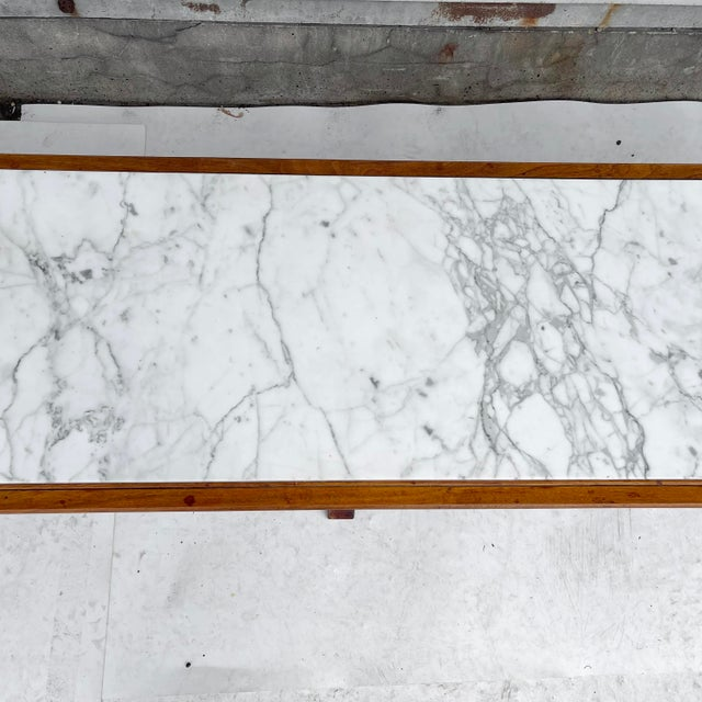 Long Mid-Century Marble Top Coffee Table For Sale - Image 4 of 13