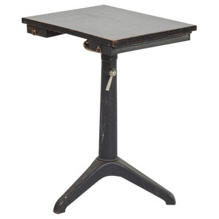 Iron Artist's Table With Glass Top For Sale