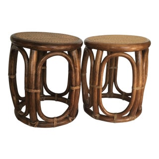 1980s Traditional John McGuire Drum Side Side Tables - a Pair