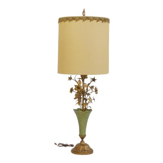 1960s Italian Gilt Tole and Ceramic Floral Bouquet Center Lamp For Sale