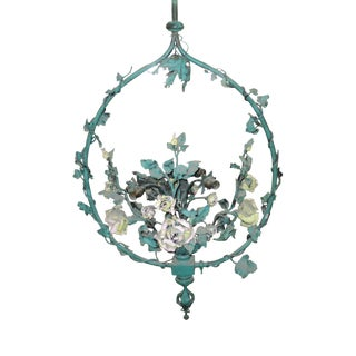 Antique French Painted Floral Tole Metal Chandelier For Sale