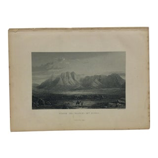 "Antique Original Engraving on Paper ""Plain El Rahah - Mt. Sinai"" by J. Cramb Circa 1890 For Sale"