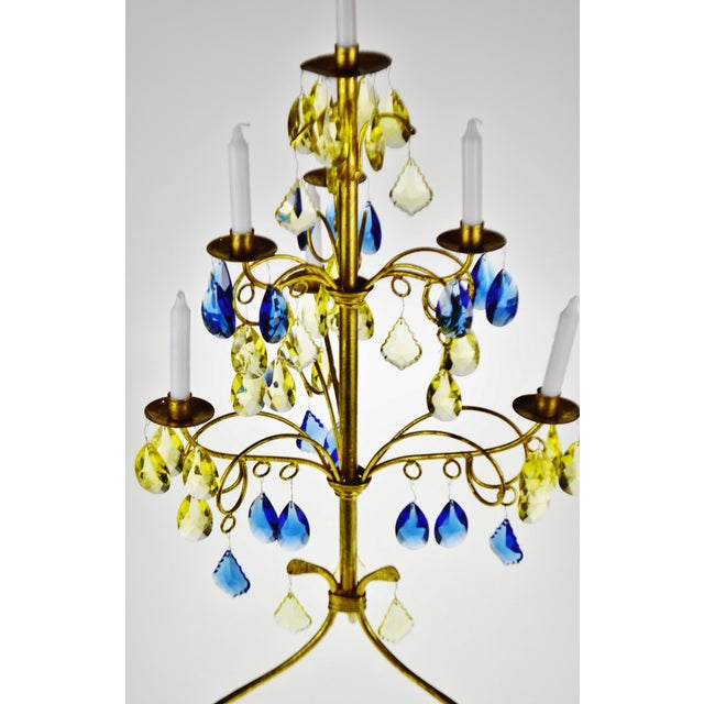 Mid 20th Century Vintage Italian Tole Gold Gilt Candelabra With Multi - Colored Cut Glass Prisms For Sale - Image 5 of 13