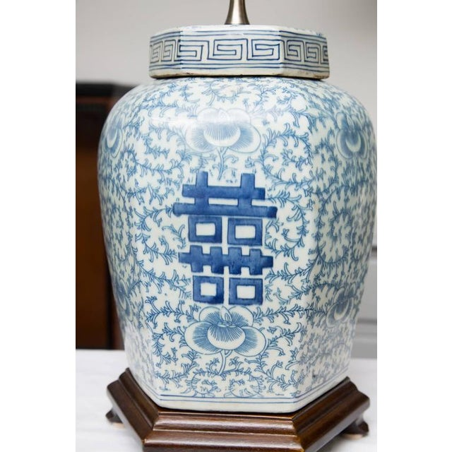 Hexagon Chinese Lidded Jars as Table Lamps- A Pair For Sale In West Palm - Image 6 of 6
