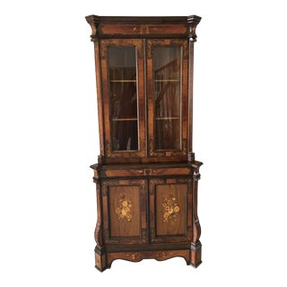 Inlaid Marquetry Corner Cabinet For Sale
