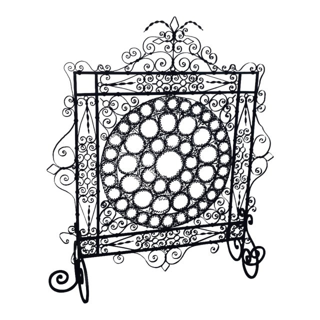 High Victorian Wrought Iron Wire Work Medallion Fires Screen For Sale