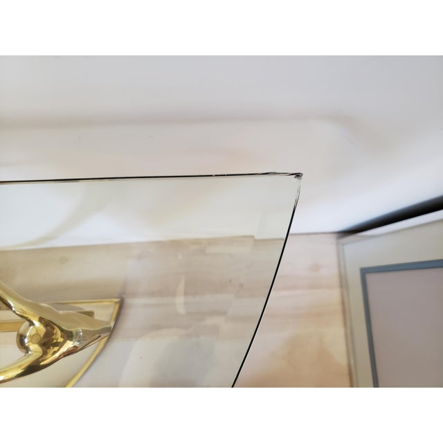 Metal 1970s Hollywood Regency Brass Glass Rams Head Console Table For Sale - Image 7 of 12