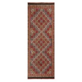 "1930's Vintage Denizli Wool Kilim Rug-3'2'x9'1"" For Sale"