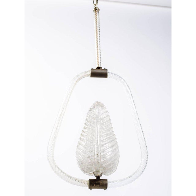 Barovier and Toso Murano Glass Leaf Pendant Chandelier, 1940's For Sale In Miami - Image 6 of 13
