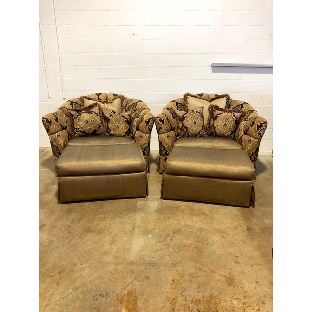 Gold Marge Carson Veronica Chair & Ottoman Sets - A Pair For Sale - Image 8 of 8