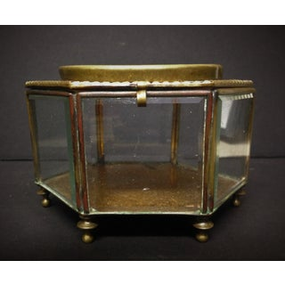 Antique French Glass and Bronze Enamel Trinket Jewelry Box Preview