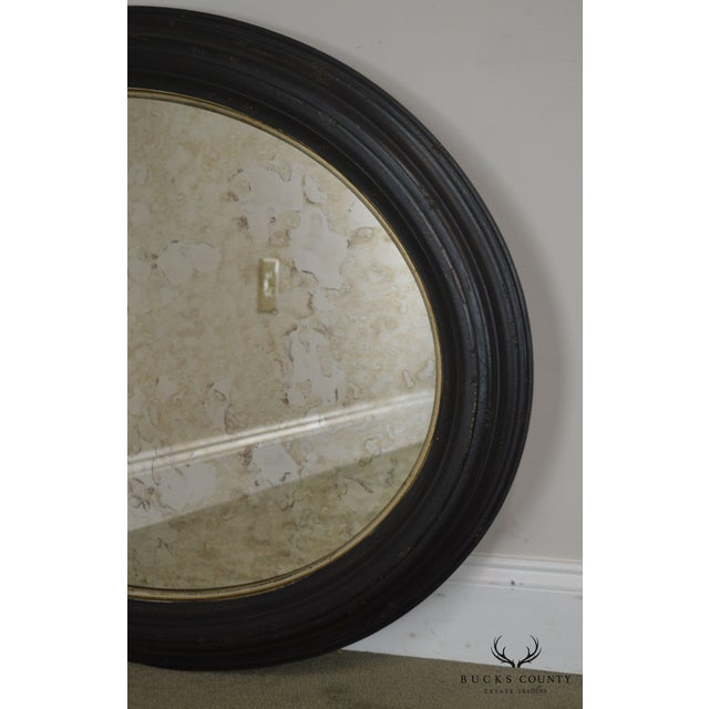 Roma Large Oval Frame Italian Wall Mirror For Sale - Image 9 of 13
