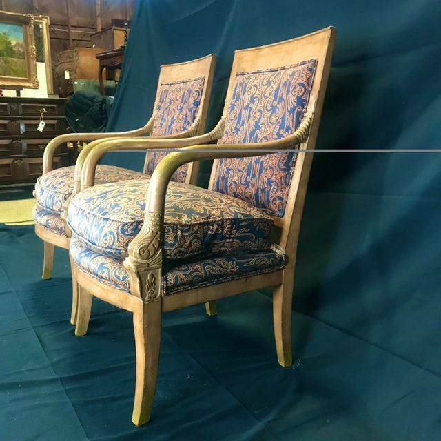 Blue 1940s Vintage Antique French Empire Style Armchairs- A Pair For Sale - Image 8 of 11
