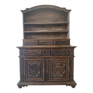 French Carved Two Door Vaisselier Buffet With Upper Display - 18th C For Sale
