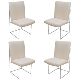 Set of Four Milo Baughman Chrome Architectural Box Frame Dining Chairs
