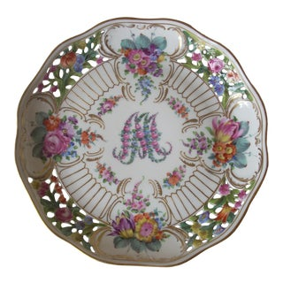1920s Floral Lace Edge Dresden Serving Tray For Sale