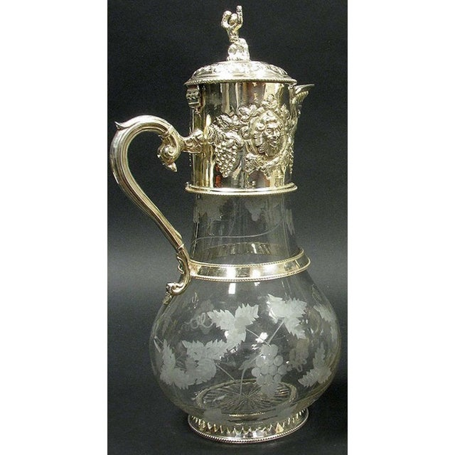 English Sliver Plated and Engraved Glass Claret Jugs - a Pair For Sale - Image 4 of 10