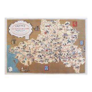 1930s Vintage French Map, Chateaux de la Loire