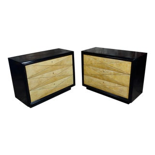 1960s Hollywood Regency Ebonized Bachelor's Chests Commodes - a Pair For Sale