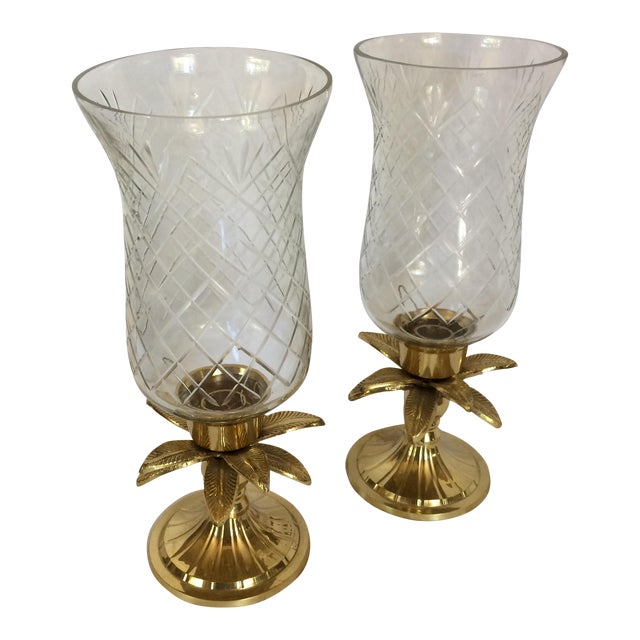 Vintage Etched Crystal & Brass Pineapple Design Candle Holders - a Pair - Image 1 of 11