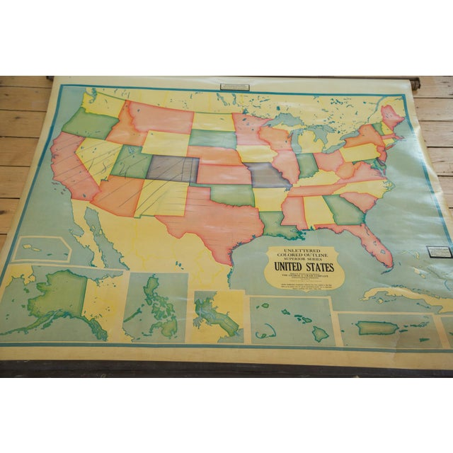 """Rare find in this vintage 1930s Cram's pull down map of USA with all original hardware, the """"Unlettered Colored Outline..."""
