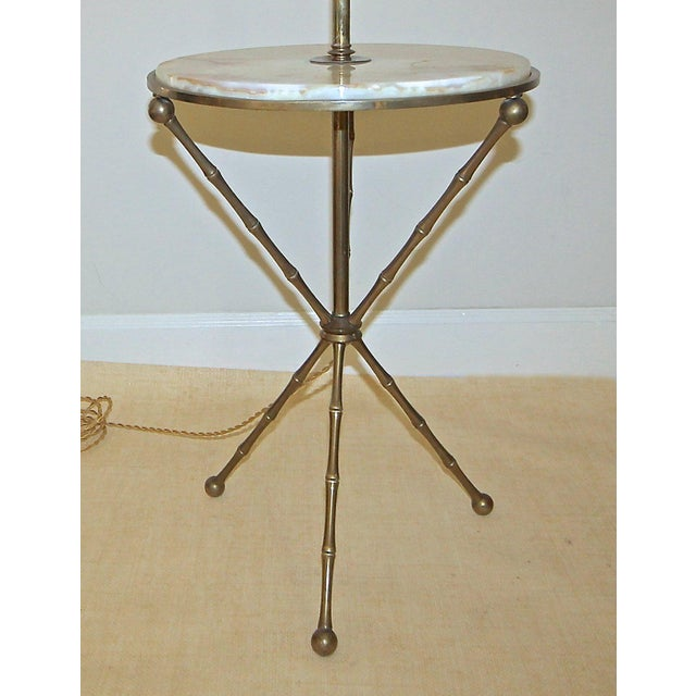 1950s Vintage Bagues Faux Bamboo Tripod Lamp Table For Sale - Image 4 of 11