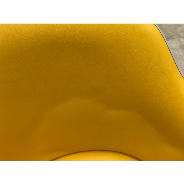 Vintage Mid Century Yellow Eames Style Shell Rolling Desk Chair For Sale - Image 9 of 13