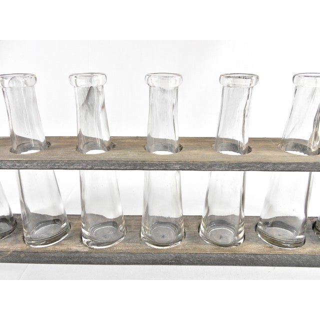 Transparent Wood Tray With 7 Glass Bud Vases - Flower Vases For Sale - Image 8 of 9