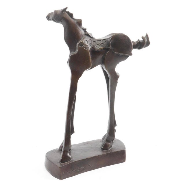 Figurative Vintage Mid-Century Bronze Abstracted Surrealist Inspired Horse Sculpture For Sale - Image 3 of 9