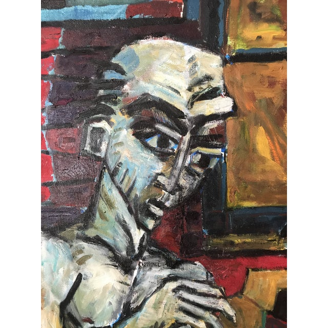 """Postmodern Vintage Original Painting Early Work of Paul Rinaldi """"Man Playing Checkers"""" For Sale - Image 3 of 10"""
