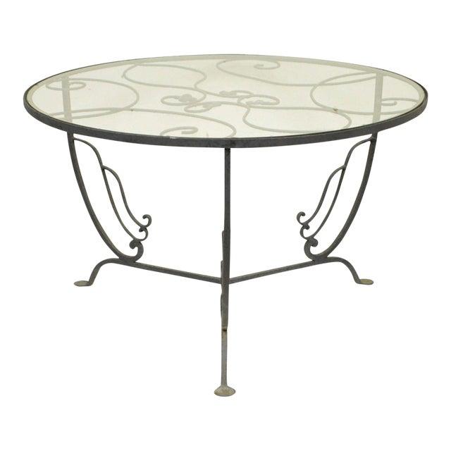 Vintage Salterini Wrought Iron Art Nouveau Deco Patio Garden Round Coffee Table For Sale