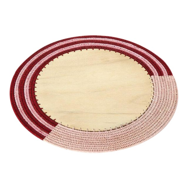 Round Stripe Charger Blush/radish & Peony For Sale