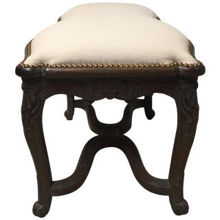 Sensational Curvy Irregular Shaped French Carved Walnut Bench For Sale
