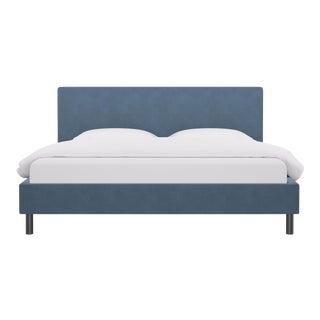 King Tailored Platform Bed in Ocean Velvet For Sale