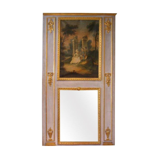 19th Century French Antique Trumeau Mirror in Blue For Sale