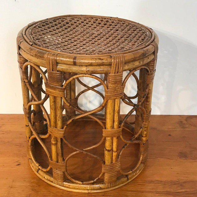 Set of Three Graduating/ Nesting Bamboo, Rattan and Reed Nesting Side Tables For Sale In West Palm - Image 6 of 13