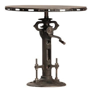 Iron Crank Adjustable Round Dining Table For Sale