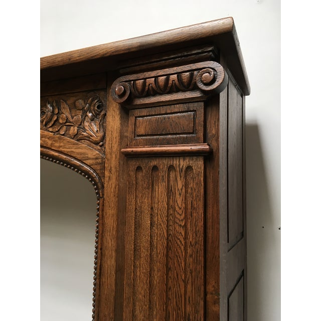 Antique Hand Carved Oak Fireplace Mantle For Sale - Image 4 of 11