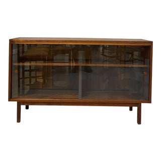 1950s Mid Century Modern Walnut Display Cabinet For Sale