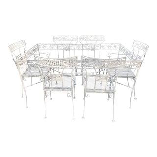 Klismos Patio Dining Set, Greek Key Motif, Attributed to Salterini, Restored