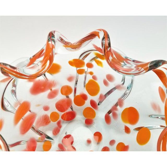 Boho Chic Large Vintage Murano Glass Bowl - Mid Century Modern Italian Italy Venetian Palm Beach Boho Chic Orange For Sale - Image 3 of 9
