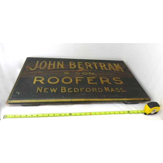 Antique Wood New Bedford Mass. Roofers Sign For Sale - Image 11 of 13