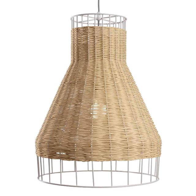 Blu Dot Laika Woven Wicker/Rattan Pendant Light For Sale