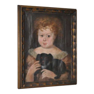 "Charming 19th Century ""Girl With Dog"" Oil Painting"