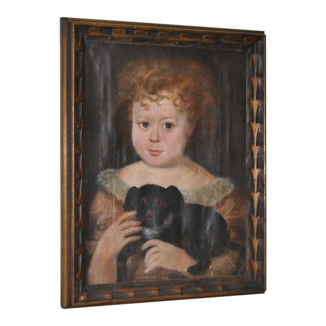 """Charming 19th Century """"Girl With Dog"""" Oil Painting For Sale"""