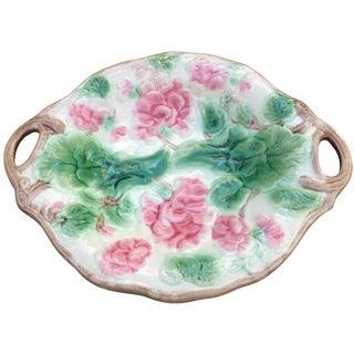 Antique Majolica Double Handle Geranium Platter