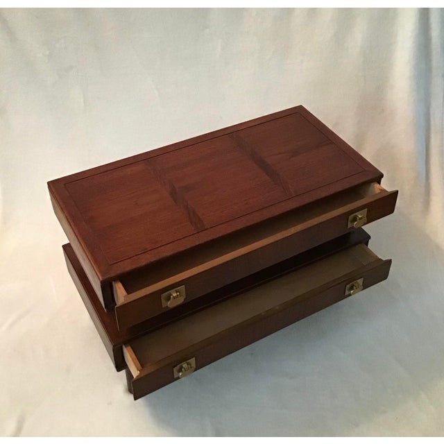 Mid century walnut small end/side table. Two drawer with brass drop - pulls, stack style, on sculptured legs. Solid,...