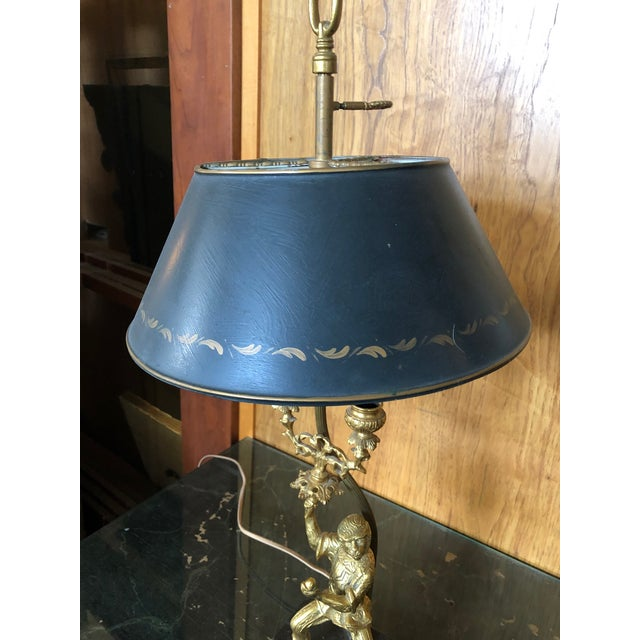 French Vintage Gilt Brass and Tole Monkey Motif Bouillote Lamp For Sale - Image 3 of 13