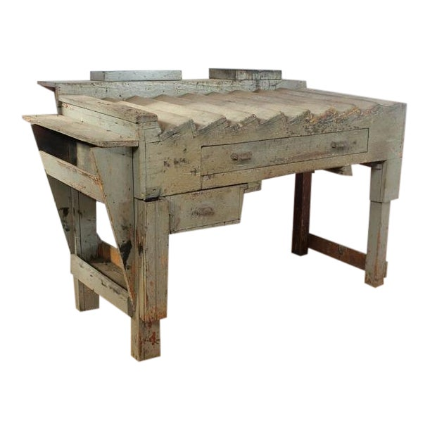 Antique Printer's Working Wood Table/Desk For Sale - Image 4 of 4