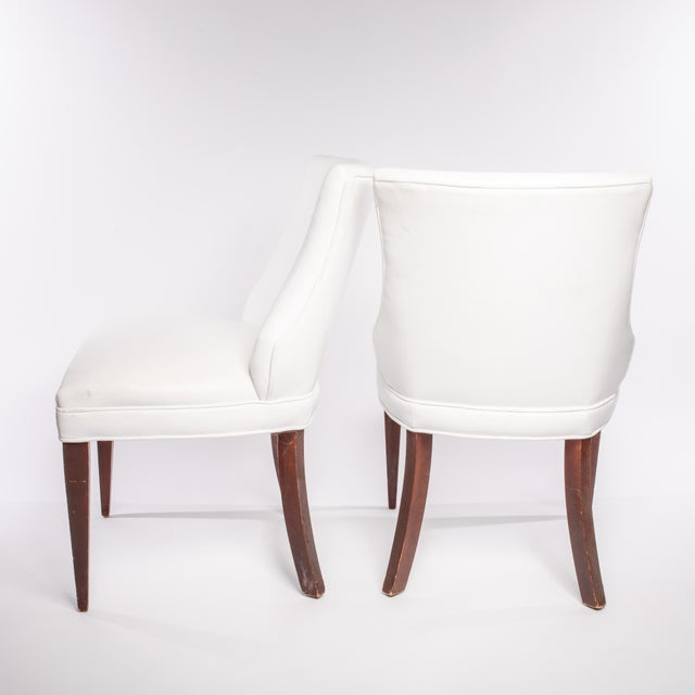 Art Deco Vintage French Leather Side Chairs- A Pair For Sale - Image 3 of 5